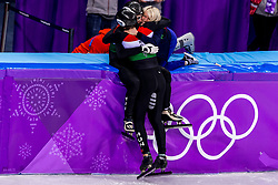 22-02-2018 KOR: Olympic Games day 13, PyeongChang<br /> Short Track Speedskating / Shaolin Sandor Liu of Hungary, Elise Christie of Great Britain, Shaoang Liu #5 of Hungary