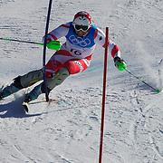Winter Olympics, Vancouver, 2010.Silvan Zurbriggen, Switzerland, winning Bronze in the Alpine Skiing Men's Super Combined event at Whistler Creekside, Whistler, during the Vancouver Winter Olympics. 21th February 2010. Photo Tim Clayton