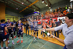 ACH Volley celebrate victory after volleyball match between Calcit Volleyball and ACH Volley in Round #4 of Finals of 1. DOL Slovenian Championship 2014/15, on April 23, 2015 in Sportna Dvorana, Kamnik, Slovenia. Photo by Matic Klansek Velej / Sportida
