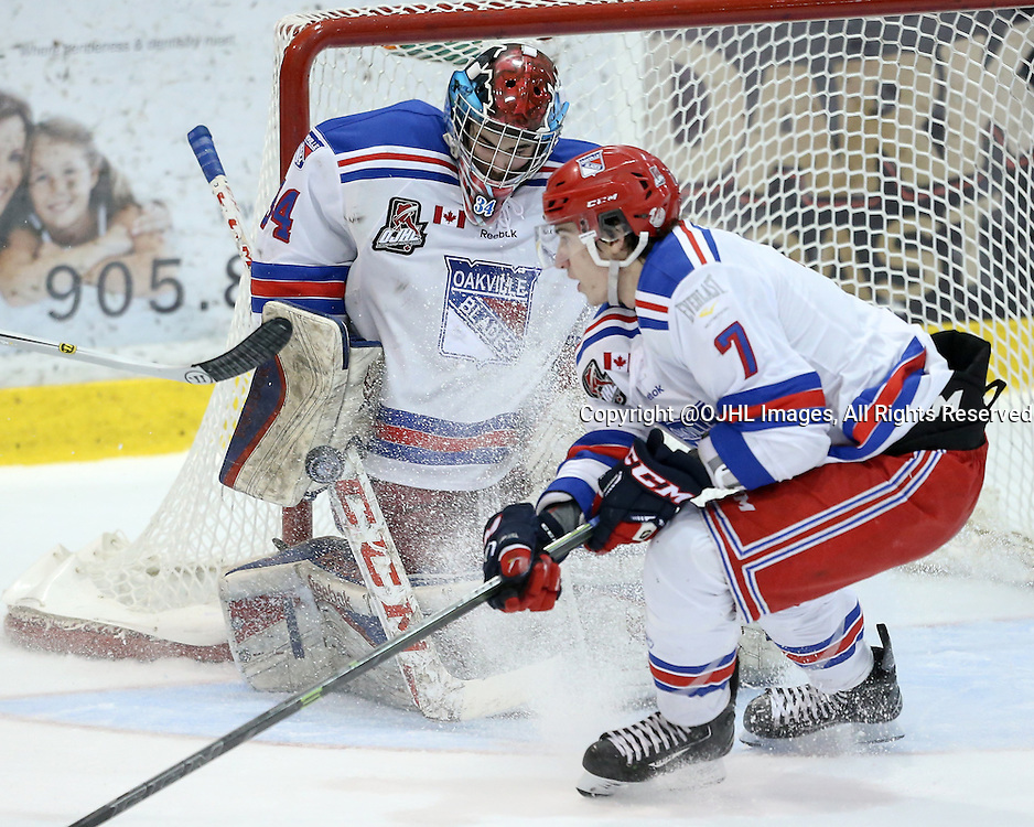 Oakville, ON - MAR 4, 2016  Ontario Junior Hockey League game action between St. Michael's and Oakville Blades at the Sixteen Mile Sports Complex Oakville, ON. Brendan Mcglynn #34 of the Oakville Blades makes a blocker save during the second period. <br /> (Photo by Kevin Sousa / OJHL Images)