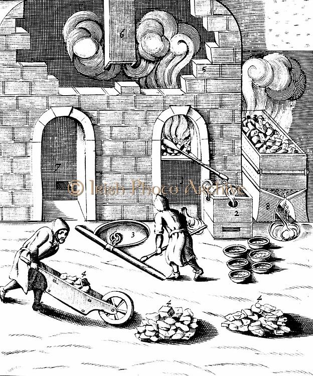Smelting of copper: making liquation cakes by reducing copper in furnaces and alloying with lead. 1683 English edition of Lazarus Ercker 'Beschreibung allerfurnemisten mineralischen Ertzt und Berckwercksarten' 1580. Copperplate engraving.