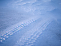Tire tracks in snow. Kolstaðir, West Iceland.