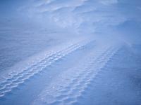 Tire tracks in snow. Kolstaðir, West Iceland.