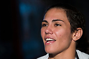 DALLAS, TX - MAY 10:  Jessica Andrade speaks to the media during the UFC 211 Ultimate Media Day at the House of Blues Dallas on May 10, 2017 in Dallas, Texas. (Photo by Cooper Neill/Zuffa LLC/Zuffa LLC via Getty Images) *** Local Caption *** Jessica Andrade