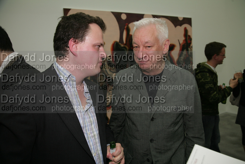 TIM STONER AND MICHAEL CRAIG-MARTIN , private view  of new exhibition by Tim Stoner , Alison Jacques Gallery in new premises in Berners St., London, W1 ,Afterwards across the rd. at the Sanderson Hotel. 3 May 2007. DO NOT ARCHIVE-© Copyright Photograph by Dafydd Jones. 248 Clapham Rd. London SW9 0PZ. Tel 0207 820 0771. www.dafjones.com.