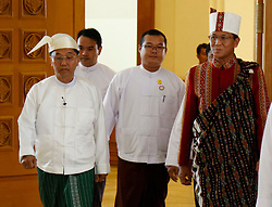 Military-assigned First Vice President U Myint Swe (front L) and second vice president of the National League for Democracy (NLD) U Henry Van Thio (front, R) arrive to attend a session of Myanmar Union Parliament in Nay Pyi Taw, Myanmar, March 30, 2016. U Myint Swe and U Henry Van Thio took the oath of office in the presence of parliament Speaker U Mann Win Khaing Than. EXPA Pictures © 2016, PhotoCredit: EXPA/ Photoshot/ U Aung<br /> <br /> *****ATTENTION - for AUT, SLO, CRO, SRB, BIH, MAZ, SUI only*****