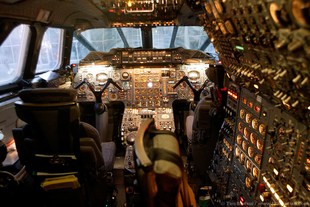 Inside the cockpit of a British Airways Concorde passenger jet taxis at Boeing Field in south Seattle on Wednesday, November 5, 2003 in Seattle, Washington. This Concorde was donated after decommisioning by British Airways and is one of four outside of Europe and the only one on the west coast of the United States. The pilot, Cpt. Mike Bannister, broke the world speed record from New York to Seattle on this historic last flight with by going supersonic over Canada for a time of 3 hours, 55 minutes, and 12 seconds. (Photo by Tim Matsui/Getty Images)