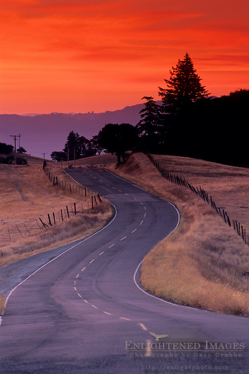 Twisting curves of Orr Springs Road at sunrise near Ukiah, Mendocino County, California