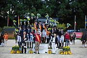 Podium Juniors 1. Germany, 2. The Netherlands, 3. Denmark<br /> European Championships Dressage 2017<br /> © DigiShots