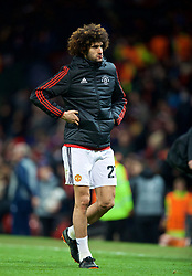 MANCHESTER, ENGLAND - Tuesday, March 13, 2018: Manchester United's Marouane Fellaini walks off the pitch dejected as his side crash out of Europe losing 1-2 to Sevilla during the UEFA Champions League Round of 16 2nd leg match between Manchester United FC and Sevilla FC at Old Trafford. (Pic by David Rawcliffe/Propaganda)