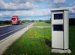 Traffic speed camera by highway in Estonia.