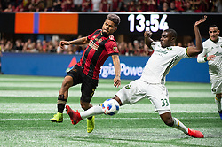 December 8, 2018 - Atlanta, Georgia, United States - Portland Timbers defender LARRYS MABIALA (33) blocks a cross infant of Atlanta United forward JOSEF MARTINEZ (7) during the MLS Cup at Mercedes-Benz Stadium in Atlanta, Georgia.  Atlanta United defeats Portland Timbers 2-0 (Credit Image: © Mark Smith/ZUMA Wire)