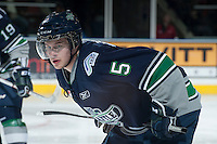 KELOWNA, CANADA -FEBRUARY 10: Sam McKechnie #5 of the Seattle Thunderbirds faces off against the Kelowna Rockets on February 10, 2014 at Prospera Place in Kelowna, British Columbia, Canada.   (Photo by Marissa Baecker/Getty Images)  *** Local Caption *** Sam McKechnie;