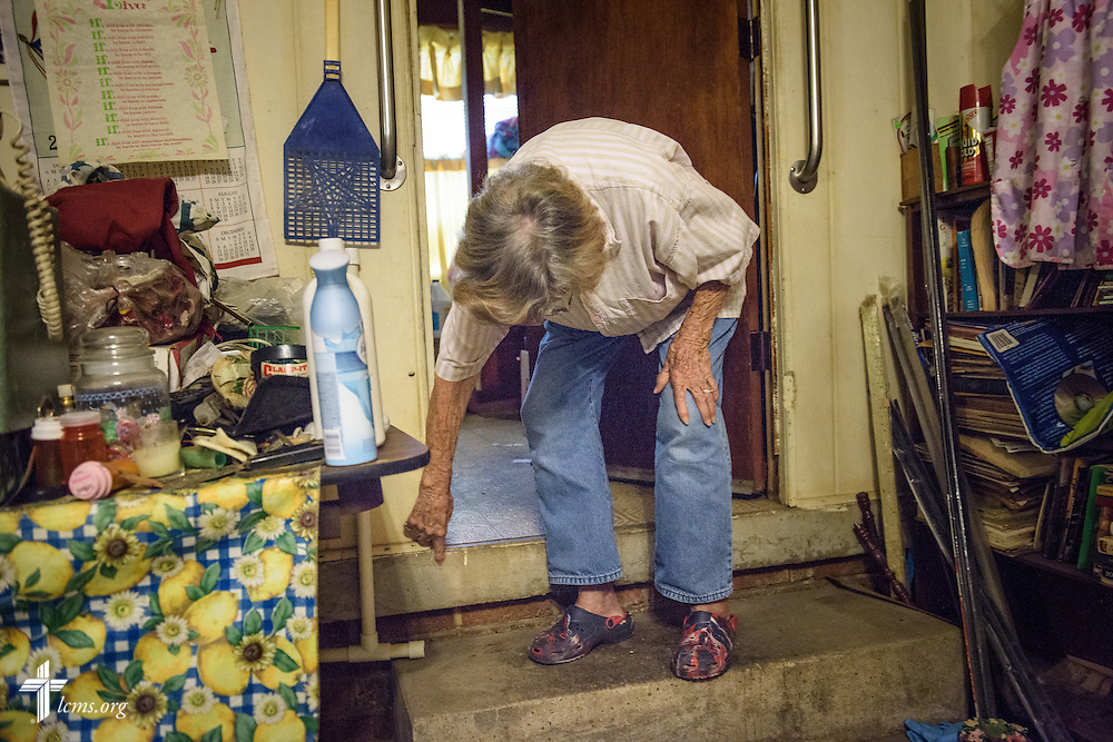 Althea Neptune, a charter member at Trinity Lutheran Church, Baton Rouge, La., shows Wednesday, Sept. 14, 2016, how high floodwaters rose in her house following August flooding in Baton Rouge.  LCMS Communications/Erik M. Lunsford