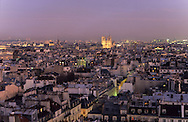 France. Paris. 6th district. Elevated view.  Notre dame cathedral and Saint Germain des pres area view from roof top of medecine university