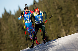 Matvey Eliseev (RUS) and Benedikt Doll (GER) in action during the Men 10km Sprint at day 6 of IBU Biathlon World Cup 2018/19 Pokljuka, on December 7, 2018 in Rudno polje, Pokljuka, Pokljuka, Slovenia. Photo by Vid Ponikvar / Sportida