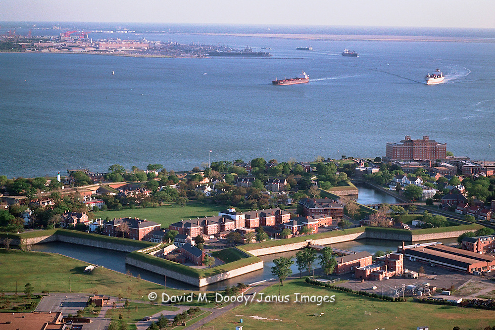Aerial view of Old Point Comfort, site of Fort Monroe, Hampton Roads/Newport News Virginia. Norfolk and Navy Base is across the water to the south. This site is at the mouth of the Chesapeake Bay and James River.