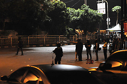 May 25, 2017 - Jakarta, Indonesia - Police bomb squad members inspect the site of an explosion in Jakarta, Indonesia, on May 25,2017. The occurrence of two explosions in the region. (Credit Image: © Dasril Roszandi/NurPhoto via ZUMA Press)