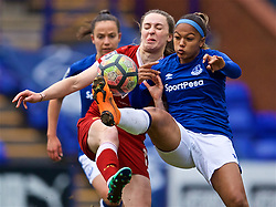 BIRKENHEAD, ENGLAND - Sunday, April 29, 2018: Liverpool's Niamh Charles (left) and Everton's substitute Taylor Hinds during the FA Women's Super League 1 match between Liverpool FC Ladies and Everton FC Ladies at Prenton Park. (Pic by David Rawcliffe/Propaganda)