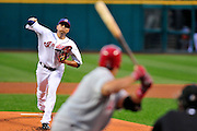Sept. 15, 2010; Cleveland, OH, USA; Cleveland Indians starting pitcher Jeanmar Gomez (58) pitches to Los Angeles Angels first base Juan Rivera (20) during the first inning at Progressive Field. Mandatory Credit: Jason Miller-US PRESSWIRE
