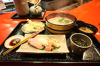 Jan. 21, 2009; Obama, Fukui Prefecture, Japan - Tempura, udon and sushi lunch set at Miyabi.