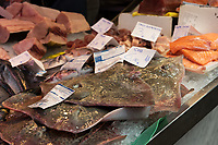 Fresh rays are for sale at the daily Fish market in the Mercado Central in Castellon de la Plana in Spain.