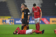 Nottingham Forest player Tiago Silva (28) is injured during the EFL Sky Bet Championship match between Hull City and Nottingham Forest at the KCOM Stadium, Kingston upon Hull, England on 26 December 2019.