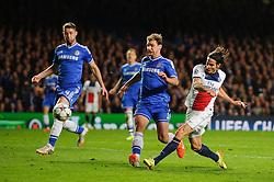 PSG Forward Edinson Cavani (URU) shoots past Chelsea Defender Branislav Ivanovic (SRB) - Photo mandatory by-line: Rogan Thomson/JMP - 07966 386802 - 08/04/2014 - SPORT - FOOTBALL - Stamford Bridge, London - Chelsea v Paris Saint-Germain - UEFA Champions League Quarter-Final Second Leg.