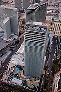 Aerial view of Cosmopolitan Hotel on the Strip, Las Vegas, Nevada, USA