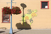 A quirky painted wall mural of a moose on the Kobuk Cafe in downtown Anchorage, Alaska.