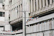 People wait their turn inside the Dominican Interior Ministry building to register in the national regularization plan.