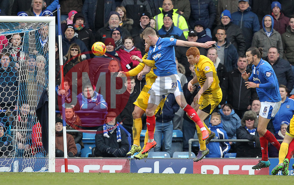 Michael Smith ( 2nd L ) of Portsmouth scores to make it 2-0 - Mandatory byline: Paul Terry/JMP - 13/02/2016 - FOOTBALL - Fratton Park - Portsmouth, England - Portsmouth v Bristol Rovers - Sky Bet League Two