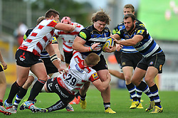 Nick Auterac of Bath Rugby takes on the Gloucester defence - Mandatory byline: Patrick Khachfe/JMP - 07966 386802 - 13/09/2015 - RUGBY UNION - Memorial Stadium - Bristol, England - Gloucester Rugby v Bath Rugby - West Country Challenge Cup.