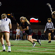 23 March 2018:  San Diego State Aztecs midfielder Taylor Sullivan scores from the free position in the second half to give the Aztecs a 10-8 lead. The Aztecs beat the Lady Flames 11-10 Friday night. <br /> More game action at sdsuaztecphotos.com