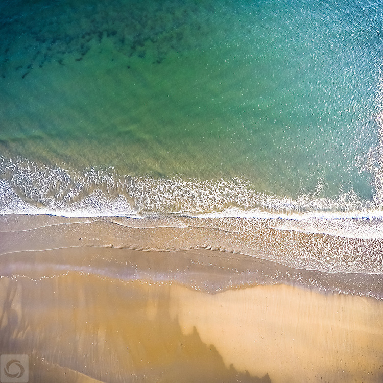 An aerial drone view of the beach in Bonnet Shores, Narragansett, Rhode Island.