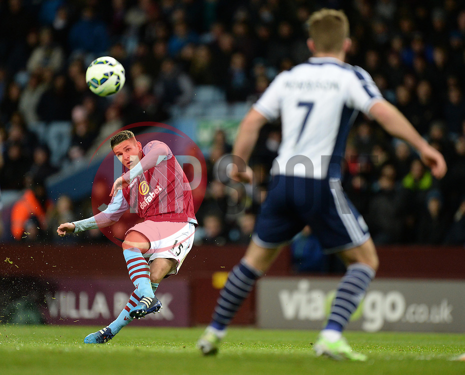 Aston Villa Ashley Westwood fires his free kick high. - Photo mandatory by-line: Alex James/JMP - Mobile: 07966 386802 - 03/03/2015 - SPORT - football - Birmingham - Villa Park - Aston Villa v West Brom - Barclays Premier League