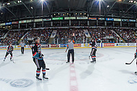 KELOWNA, CANADA - SEPTEMBER 24: Referee Ward Pateman stands at centre ice for his first WHL game as a referee between the Kelowna Rockets and the Kamloops Blazers on September 24, 2016 at Prospera Place in Kelowna, British Columbia, Canada.  (Photo by Marissa Baecker/Shoot the Breeze)  *** Local Caption *** Ward Pateman;