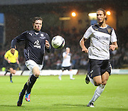 Dundee's Craig Wighton and Rangers' Belil Mohani race for the ball - Dundee v Rangers - pre-season friendly to celebrate Dundee's 120th Aniversary at Dens Park<br /> <br />  - Pictures from David Young