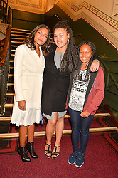 Left to right, NAOMIE HARRIS, her sister JOLIE HARRIS and friend CLARA at the opening night of Amaluna by Cirque Du Soleil at The Royal Albert Hall, London on 19th January 2016.