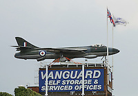 Hawker Hunter WT555, the first production F.1, first flight 16 May 1953 from Hawker's plant at Dunsfold, Vanguard Self Storage, A40  Western Avenue, Greenford, London UK, (Photo by Richard Goldschmidt)