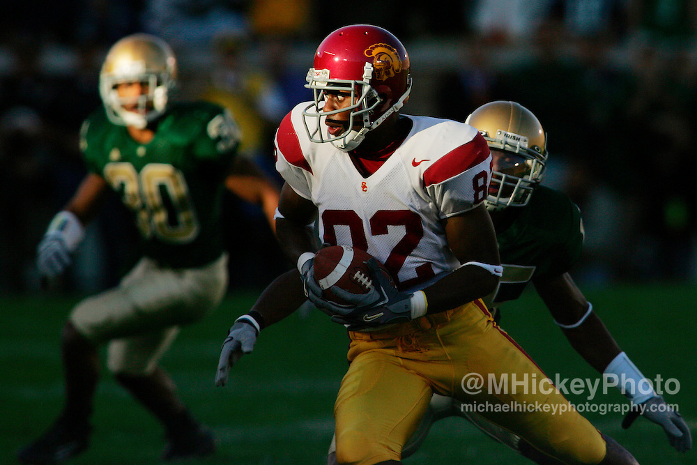 USC wide receiver Chris McFoy looks for running room after a reception during action against Notre Dame in South Bend, Indiana.