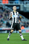 Newcastle United midfielder Jonjo Shelvey (#12) reacts to missing a shot during the EFL Sky Bet Championship match between Newcastle United and Derby County at St. James's Park, Newcastle, England on 4 February 2017. Photo by Craig Doyle.