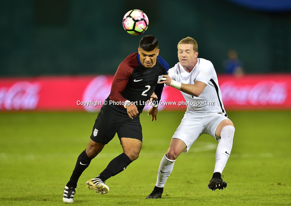 DeAndre Yedlin (USA) and Kip Colvey (NZL).<br /> Washington, D.C. - October 11, 2016: The U.S. Men's National team and New Zealand are all even 0-0 in first half play in an international friendly game at RFK Stadium.<br /> Copyright photo: Brad Smith / www.photosport.nz