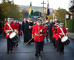© Licensed to London News Pictures. 11/11/2012..Saltburn, Cleveland, England..An Army cadet band lead the procession during the Remembrance Day parade and service taking place in the Cleveland seaside town of Saltburn by the Sea...Photo credit : Ian Forsyth/LNP