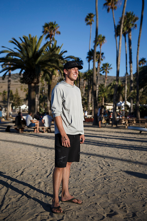 Max First, winner of the 2014 Classic, stands for a portrait before the Catalina Classic Paddle board race between Two Harbors and the Manhattan Beach Pier on Saturday, August 29, 2015 in Two Harbors, Calif.  Paddlers start from Two Harbors on Catalina Island, traveling 32 miles through the Pacific Ocean in an endurance feat to end at the Manhattan Beach Pier. © 2015 Patrick T. Fallon