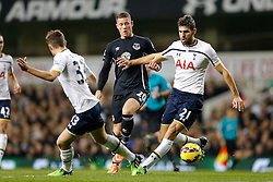 Ross Barkley of Everton is dispossesed by Ben Davies and Federico Fazio of Tottenham Hotspur - Photo mandatory by-line: Rogan Thomson/JMP - 07966 386802 - 30/11/2014 - SPORT - FOOTBALL - London, England - White Hart Lane - Tottenham Hotspur v Everton - Barclays Premier League.