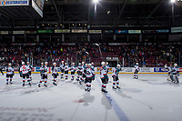 KELOWNA, CANADA - FEBRUARY 23: The Kelowna Rockets' salute fans after the win against the Seattle Thunderbirds on February 23, 2018 at Prospera Place in Kelowna, British Columbia, Canada.  (Photo by Marissa Baecker/Shoot the Breeze)  *** Local Caption ***