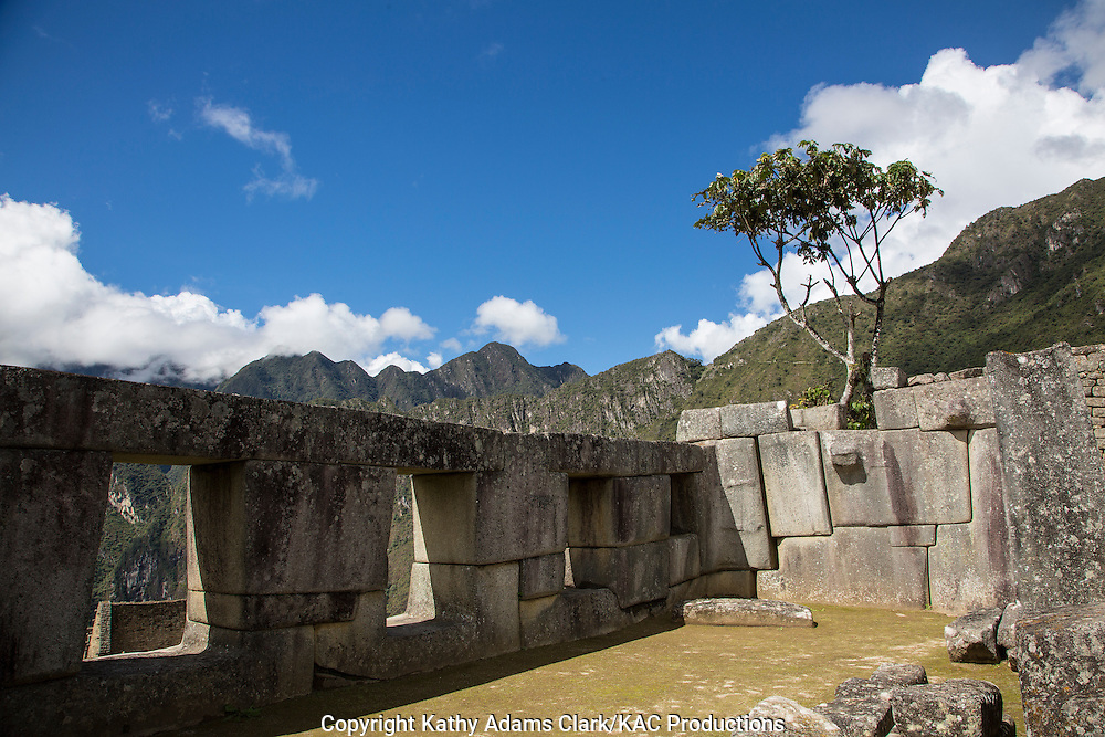 Temple of the Three Windows, Machu Picchu, Lost City of the Incas, in the Andes Mountains, of Peru.