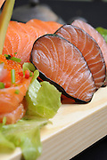 plate of Raw salmon and Tuna fish