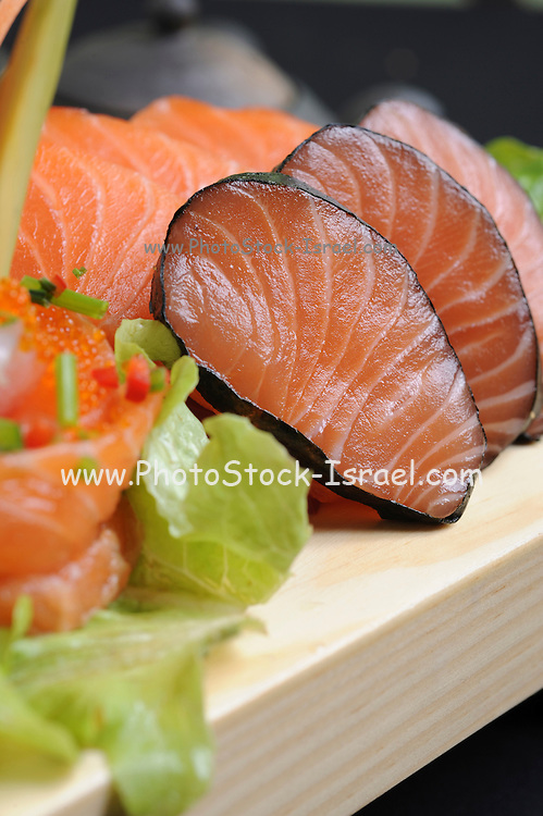 plate of Raw salmon and Tuna fish